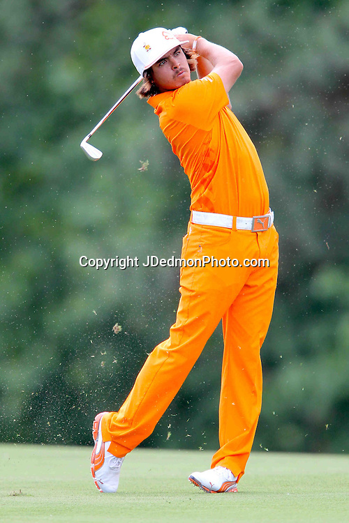 06 May 2012: Rickie Fowler on his approach to 9 during final round action at the the Wells Fargo Tournament at Quail Hollow Country Club, Charlotte, North Carolina. Rickie Fowler wins the tournament in a three-way playoff again D.A. Points and Rory McIlroy.
