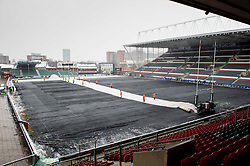 The Leicester Tigers groundstaff work to remove the protective covers and snow from the pitch ahead of the match - Photo mandatory by-line: Rogan Thomson/JMP - Tel: Mobile: 07966 386802 20/01/2013 - SPORT - RUGBY UNION - Welford Road - Leicester. Leicester Tigers v Toulouse - Heineken Cup Round 6. This is a crucial match for both sides with the winner topping Pool 2 to progress to the Quarter Final stage of the competition.