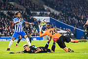 Brighton and Hove Albion (26) GK	Tim Krul, Crystal Palace #3 Patrick van Aanholt, Brighton and Hove Albion (3) Gaëtan Bong during the The FA Cup 3rd round match between Brighton and Hove Albion and Crystal Palace at the American Express Community Stadium, Brighton and Hove, England on 8 January 2018. Photo by Sebastian Frej.