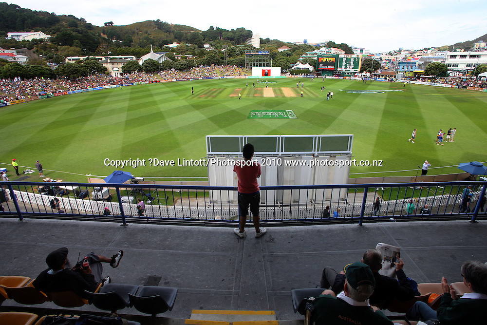 A general view from the RA Vance stand.<br /> 1st cricket test match - New Zealand Black Caps v Australia, day two at the Basin Reserve, Wellington.Saturday, 20 March 2010. Photo: Dave Lintott/PHOTOSPORT