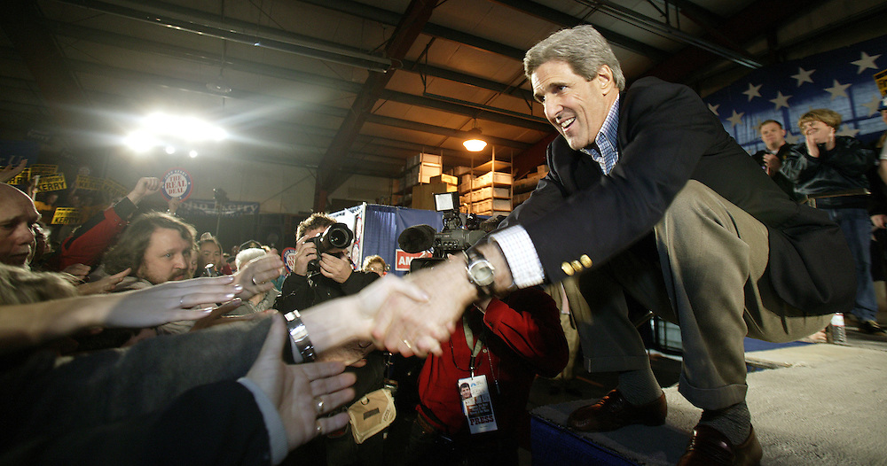 United States Senator and Democratic Presidential hopeful John Kerry shakes hands with supporters at a rally in Spokane, Washington. Tuesday 03 February 2004. EPA PHOTO/ANDREW GOMBERT