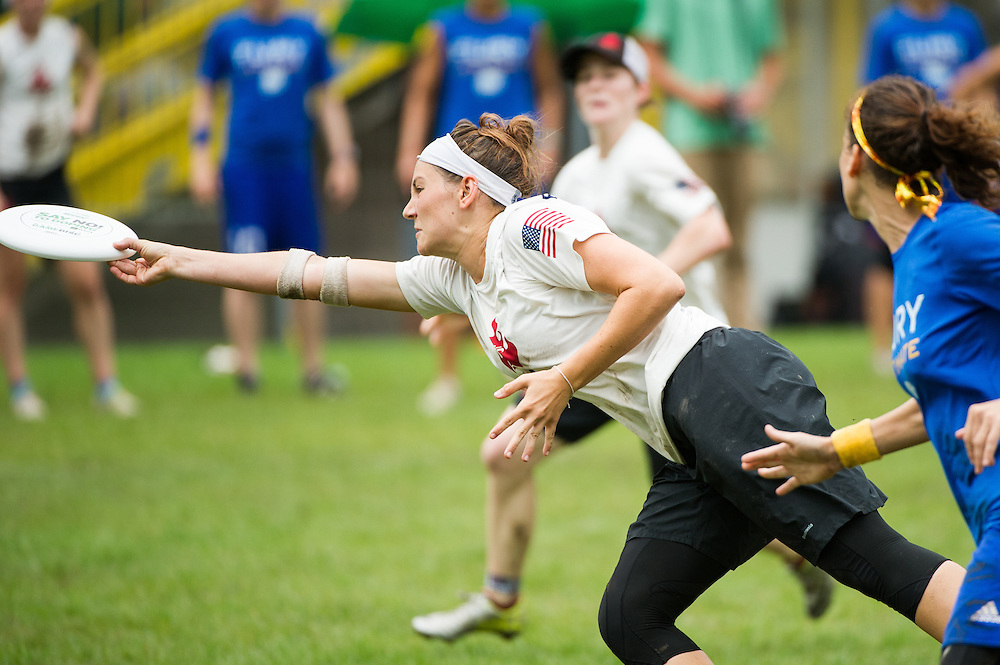 Geli Boyden (Riot #34) makes a great grab during the Womens Division championship game between Seattle Riot and San Francisco Fury at the 2014 World Ultimate Club Championship in Lecco, Italy. Aug 8, 2014. ©2014 Jeff Bell Photo. All Rights Reserved.