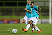 Forest Green Rovers Tahvon Campbell(14) passes the ball forward during the EFL Trophy match between Forest Green Rovers and Cheltenham Town at the New Lawn, Forest Green, United Kingdom on 4 September 2018.