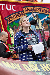 LNP Weekly Highlights 02/05/14. FILE PICTURE. © Licensed to London News Pictures. 01/05/2014. London, UK. Bob Crowe's daughter Natasha makes a speech in Trafalgar Square. Students, trade unionists, pensioners and activists take part in the annual May Day march and rally from Clerkenwell Green to Trafalgar Square in London on 1st May 2014, which this year pays special tribute to Bob Crow and Tony Benn. Photo credit : Vickie Flores/LNP