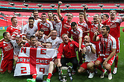 North Shields players celebrate during the FA Vase Final between Glossop North End and North Shields at Wembley Stadium, London, England on 9 May 2015. Photo by Phil Duncan.