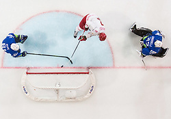 Ilya Shinkevich of Belarus scoring goal against Jurij Repe of Slovenia and Gasper Kroselj of Slovenia during the 2017 IIHF Men's World Championship group B Ice hockey match between National Teams of Slovenia and Belarus, on May 13, 2017 in AccorHotels Arena in Paris, France. Photo by Vid Ponikvar / Sportida