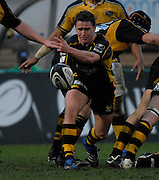 Wycombe, GREAT BRITAIN,  Wasps, Eoin REDDAN, passes the ball out, from the back of the scrum, during the Guinness Premiership Game, London Wasps vs Leeds Carnegie, at Adams Park. 05/01/2008  [Mandatory credit Peter Spurrier/ Intersport Images].