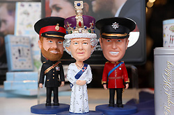 May 18, 2018 - Windsor, Great Britain - 18-05-2018 England UK Souvenir memorabilia with Queen Elizabeth and Prince William doll in a shop window in Windsor Town Centre, UK ahead of Prince Harry and Meghan Markle's wedding. ..© PPE/Nieboer.Credit: PPE/face to face.- No rights for the Netherlands  (Credit Image: © face to face via ZUMA Press)