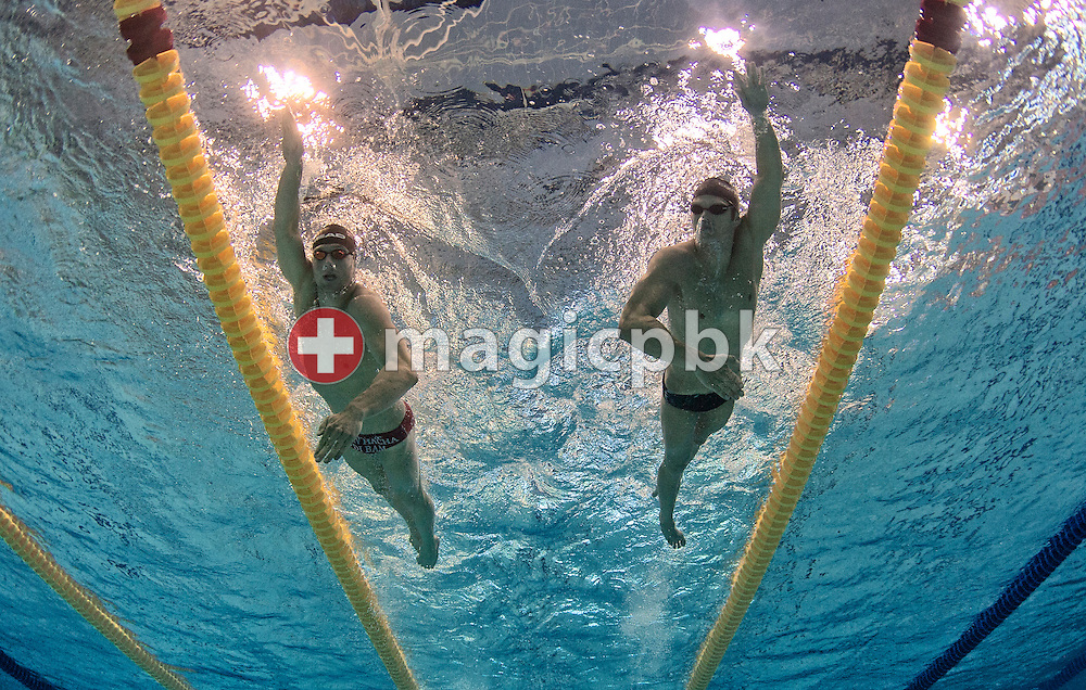Markus  ROGAN (L) of Austria and Dominik MEICHTRY of Switzerland are swimming down after competing during the 31st LEN European Swimming Championships in Debrecen, Hungary, Saturday, May 26, 2012. (Photo by Patrick B. Kraemer / MAGICPBK)