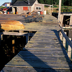 Great Wass Island, ME. A pier in Black Duck Cove on the coast of Great Wass Island in Down East Maine.  Part of U. Maine Machias lobster and clam hatchery.