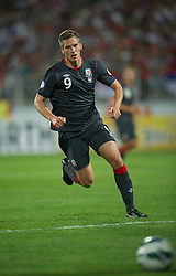 NOVI SAD, SERBIA - Tuesday, September 11, 2012: Wales' Steve Morison in action against Serbia during the 2014 FIFA World Cup Brazil Qualifying Group A match at the Karadorde Stadium. (Pic by David Rawcliffe/Propaganda)