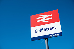 Sign at very small Golf Street railway station in Carnoustie, Scotland, Used mainly when the Open golf Championship is held at nearby Carnoustie Golf links (course), Angus, Scotland, UK.