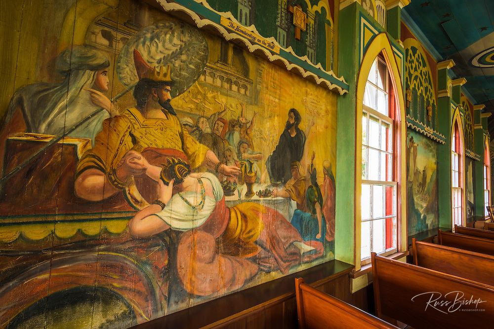 Interior murals at St. Benedict's Painted Church, Captain Cook, The Big Island, Hawaii