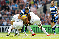 Bath Flanker Sam Burgess is tackled by Saracens Lock George Kruis - Photo mandatory by-line: Rogan Thomson/JMP - 07966 386802 - 30/05/2015 - SPORT - RUGBY UNION - London, England - Twickenham Stadium - Bath Rugby v Saracens - 2015 Aviva Premiership Final.