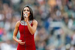 Laura Wright sings Swing Low Sweet Charriot before the match - Photo mandatory by-line: Rogan Thomson/JMP - 07966 386802 - 29/11/2014 - SPORT - RUGBY UNION - London, England - Twickenham Stadium - England v Australia - QBE Autumn Internationals.