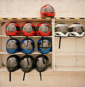 Go-karting helmets awaiting wearers on MoD land at RAF Akrotiri.