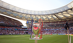 MADRID, SPAIN - SATURDAY, JUNE 1, 2019: The European Cup trophy on display before the UEFA Champions League Final match between Tottenham Hotspur FC and Liverpool FC at the Estadio Metropolitano. (Pic by David Rawcliffe/Propaganda)