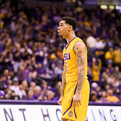 Jan 16, 2016; Baton Rouge, LA, USA; LSU Tigers guard Josh Gray (5) reacts after a basket against the Arkansas Razorbacks during the first half of a game at the Pete Maravich Assembly Center. Mandatory Credit: Derick E. Hingle-USA TODAY Sports