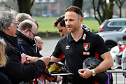 Marc Pugh (7) of AFC Bournemouth signing his autograph for fans on arrival before the Premier League match between Bournemouth and Crystal Palace at the Vitality Stadium, Bournemouth, England on 7 April 2018. Picture by Graham Hunt.
