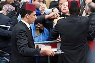 30-3-2016 AMSTERDAM - Mohammed VI is de huidige koning van Marokko hij verlaat het Waldorf Astoria in Amsterdam na een 5 daags bezoek aan Nederland. AMSTERDAM - Koning Mohammed VI van Marokko verlaat Nederland na een meerdaags bezoek. Bij vertrek uit zijn hotel gaat hij op de foto met fans voor de deur.  COPYRIGHT ROBIN UTRECHTCOPYRIGHT ROBIN UTRECHT<br /> 30-3-2016  AMSTERDAM - Mohammed VI is the current King of Morocco he leaves the WALDORF ASTORIA  IN AMSTERDAM after a 5 days private visit to the Netherlands.  COPYRIGHT ROBIN UTRECHT