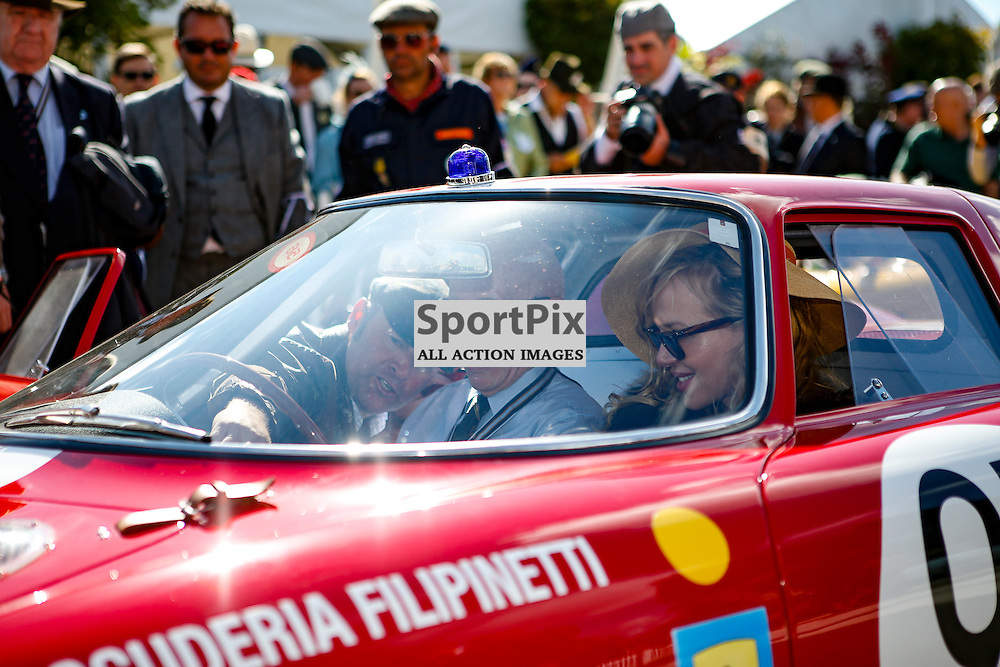 John Surtees in a Ferrari before the Lavant Cup race at the Goodwood Revival 2015, Goodwood Revival 12th September, Day 2. Chichester, West Sussex. (c) SAM TODD | SportPix.org.uk