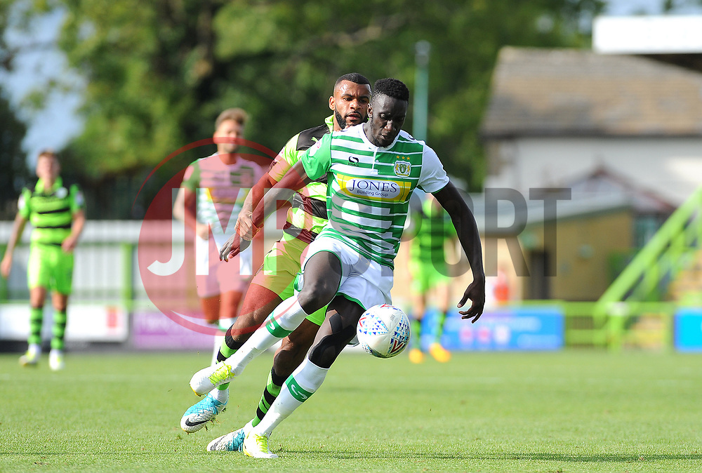 Bevis Mugabi of Yeovil Town is under pressure from Daniel Wishart of Forest Green Rovers- Mandatory by-line: Nizaam Jones/JMP - 19/08/2017 - FOOTBALL - New Lawn Stadium - Nailsworth, England - Forest Green Rovers v Yeovil Town - Sky Bet League Two