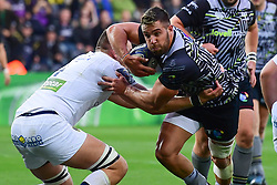 Ospreys' Rhys Webb evades the tackle of Clermont Auvergne's Paul Jedrasiak - Mandatory by-line: Craig Thomas/JMP - 15/10/2017 - RUGBY - Liberty Stadium - Swansea, Wales - Ospreys Rugby v Clermont Auvergne - European Rugby Champions Cup