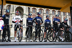 March 10, 2019 - Paris, Ile-de-France, France - Sky cycling team poses during the team's presentation at the start of the 138,5km 1st stage of the 77th Paris-Nice cycling race between Saint-Germain-en-Laye and Saint-Germain-en-Laye in the west suburb of Paris, France, on March 10, 2019. Whether leaders of a team or merely a team-mate, the riders on the Paris-Nice try to excel, either individually or as a team. According to the stage profiles, changes in the general standings or some unexpected circumstance during the race, each rider adapts his objectives to the situation. (Credit Image: © Michel Stoupak/NurPhoto via ZUMA Press)