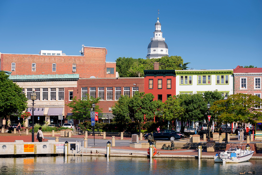 View of city dock and the Maryland State House, historic Annapolis, Maryland, USA.