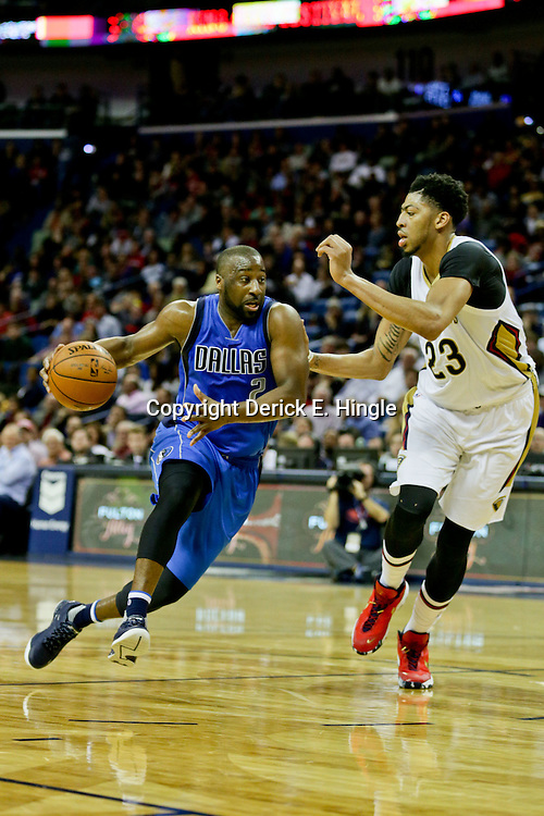 Jan 6, 2016; New Orleans, LA, USA; Dallas Mavericks guard Raymond Felton (2) drives past New Orleans Pelicans forward Anthony Davis (23) during the second quarter of a game at the Smoothie King Center. Mandatory Credit: Derick E. Hingle-USA TODAY Sports