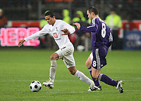 Photo: Maarten Straetemans/Sportsbeat Images.<br /> Anderlecht v Tottenham Hotspur. UEFA Cup. 06/12/2007.<br /> Jermaine Jenas (Tottenham) with Jan Polak (Anderlecht)