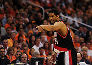 Apr 26, 2010; Phoenix, AZ, USA; Portland Trailblazers guard Andre Miller (24) reacts to call during the first quarter in game five in the first round of the 2010 NBA playoffs at the US Airways Arena.  Mandatory Credit: Jennifer Stewart-US PRESSWIRE