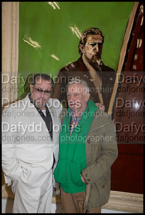 JULIAN SCHNABEL; DAVID BAILEY, Frank Cohen and Nicolai Frahm host Julian Schnabel's 'Every Angel has a Dark Side,' private view and party. IN AID OF CHICKENSHED. Dairy Art Centre, 7a Wakefield Street, London. 24 APRIL 2014