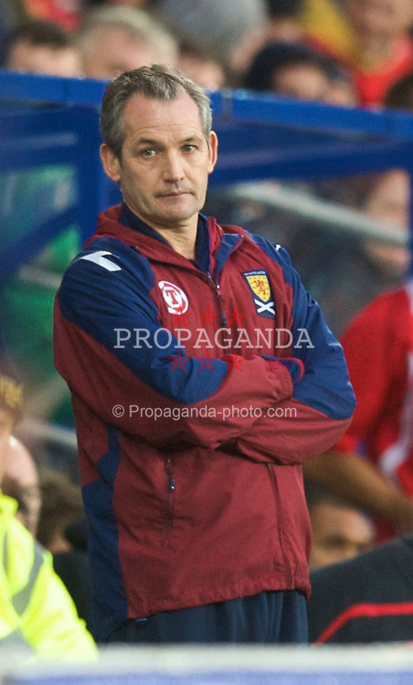 CARDIFF, WALES - Saturday, November 14, 2009: Scotland's under pressure manager George Burley during his side's 3-0 thrashing by Wales international friendly match at the Cardiff City Stadium. (Pic by David Rawcliffe/Propaganda)
