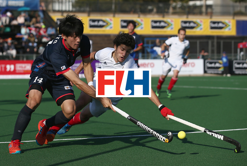 JOHANNESBURG, SOUTH AFRICA - JULY 13: Kaito Tanaka of Japan and Simon Martin Brisac of France battle for possession during day 3 of the FIH Hockey World League Semi Finals Pool A match between Japan and France at Wits University on July 13, 2017 in Johannesburg, South Africa. (Photo by Jan Kruger/Getty Images for FIH)