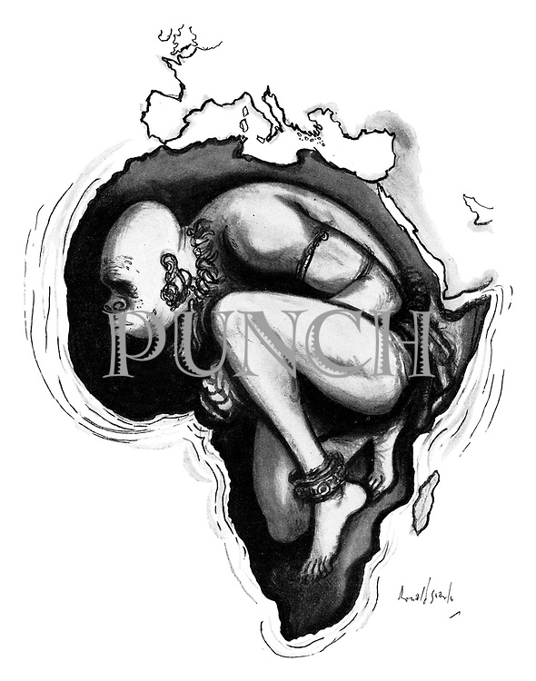 (A bound African bent inside the map of Africa is ready to break his shackles)