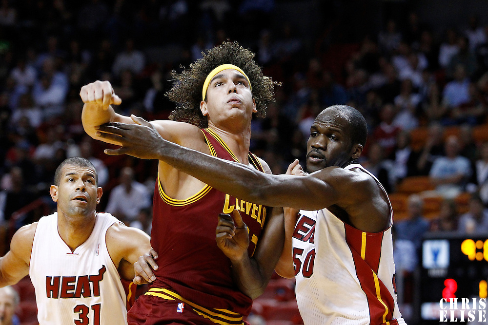 24 January 2012: Cleveland Cavaliers power forward Anderson Varejao (17) vies for the rebound with Miami Heat center Joel Anthony (50) during the Miami Heat 92-85 victory over the Cleveland Cavaliers at the AmericanAirlines Arena, Miami, Florida, USA.