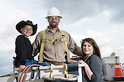 Portrait of Cotton Electric lineman Clint Ingram and his family for Oklahoma Living Magazine