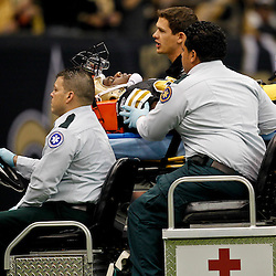 November 6, 2011; New Orleans, LA, USA; New Orleans Saints cornerback Tracy Porter (22) is carted off the field following a injury during the first quarter of a game against the Tampa Bay Buccaneers at the Mercedes-Benz Superdome. Mandatory Credit: Derick E. Hingle-US PRESSWIRE