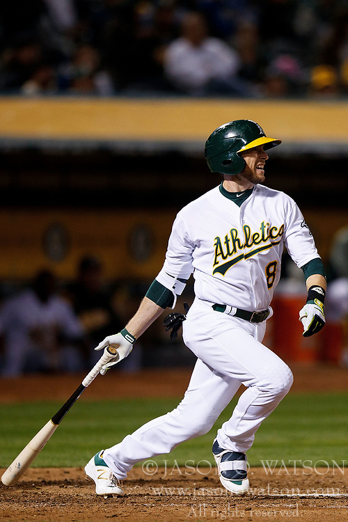 OAKLAND, CA - APRIL 04:  Jed Lowrie #8 of the Oakland Athletics at bat against the Los Angeles Angels of Anaheim during the seventh inning at the Oakland Coliseum on April 4, 2017 in Oakland, California. The Los Angeles Angels of Anaheim defeated the Oakland Athletics 7-6. (Photo by Jason O. Watson/Getty Images) *** Local Caption *** Jed Lowrie