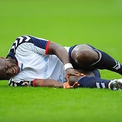 TELFORD COPYRIGHT MIKE SHERIDAN 13/10/2018 - An injured Daniel Udoh of AFC Telford during the Vanarama National League North fixture between AFC Telford United and Chorley