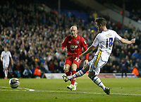 Football -Capitol One Cup-Leeds United  vs. Southampton- Leeds' Michael Tonge scores the first goal at Elland Road.