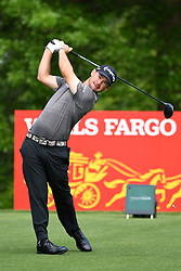 May 2, 2019 - Charlotte, NC, U.S. - CHARLOTTE, NC - MAY 02: Brian Harman plays his shot from the 16th tee in round one of the Wells Fargo Championship on March 02, 2019 at Quail Hollow Club in Charlotte,NC. (Photo by Dannie Walls/Icon Sportswire) (Credit Image: © Dannie Walls/Icon SMI via ZUMA Press)