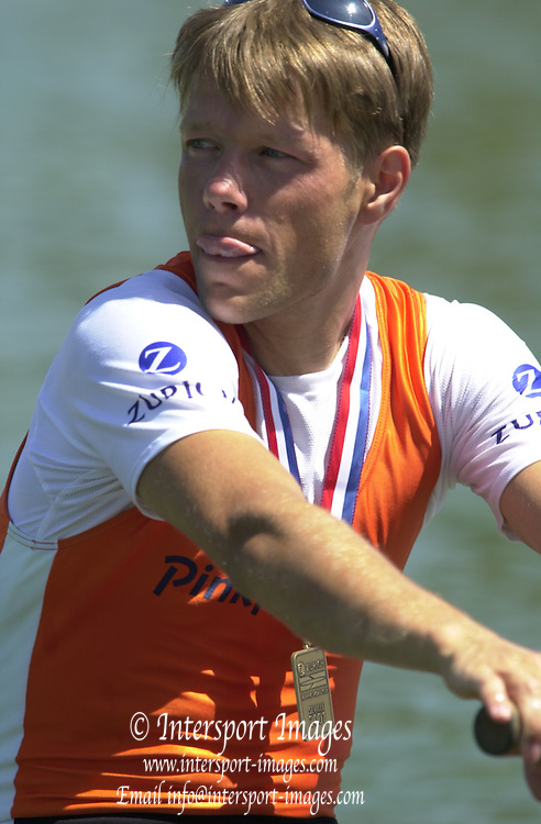 Peter Spurrier Sports  Photo.email pictures@rowingpics.com.Tel 44 (0) 7973 819 551.Tel/Fax 44 (0) 1784 440 772..Photo Peter Spurrier..2nd Rd FISA World Cup Seville. Day 3..NED LM4- Bow Karel Dormans 20010515 FISA World Cup, Seville, SPAIN