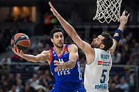 Real Madrid Rudy Fernandez and Anadolu Efes Dogus Balbay during Turkish Airlines Euroleague match between Real Madrid and Anadolu Efes at Wizink Center in Madrid, Spain. January 25, 2018. (ALTERPHOTOS/Borja B.Hojas)