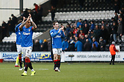 James Tavernier of Rangers applauds the fans following their 2-0 win during the Ladbrokes Scottish Premiership match between St Mirren and Rangers at the Simple Digital Arena, Paisley, Scotland on 3 November 2018.