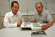 ISAO WADA (left).  Hiroshima A-Bomb survivor - Trained to be a kamikaze. With a friend kamikaze.