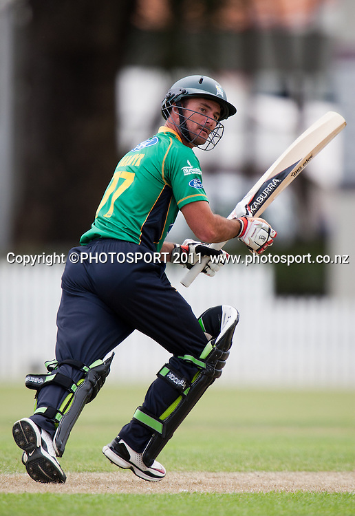 Stags' Kruger van Wyk bats during the Ford Trophy Cricket - Northern Knights v Central Stags one day match, at Seddon Park, Hamilton, New Zealand, 11 December 2011. Photo: Stephen Barker/photosport.co.nz