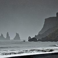 Storm over Reynisdrangar rock pillars, near Vik on Iceland south coast