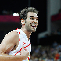 10 August 2012: Spain Jose Calderon reacts during 67-59 Team Spain victory over Team Russia, during the men's basketball semi-finals, at the North Greenwich Arena, in London, Great Britain.